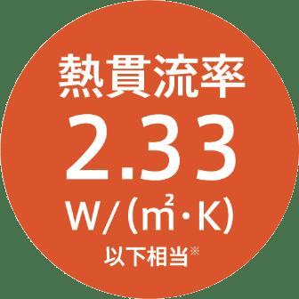 熱貫流率 2.33W/(㎡・K)以下相当※