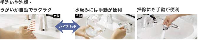 手洗いや洗顔・うがいが自動でラクラク ハイブリッド 水汲みには手動が便利 掃除にも手動が便利